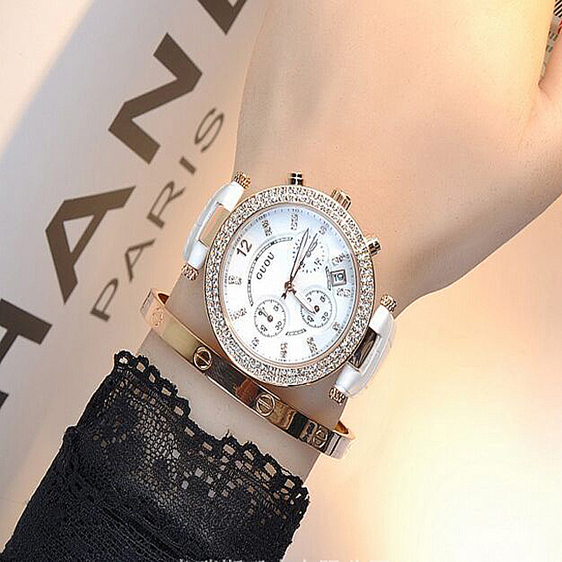 GUOU Watches For Women Fashion Calendar Luxury Diamond Wrist watch Women Watches Leather Clock saat relogio feminino reloj mujer