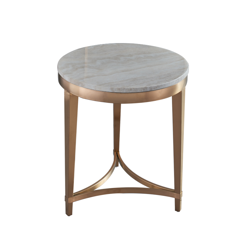 Rose gold brushed marble corner round side table gold plated sofa side table side cabinet coffee table hotel custom corner table