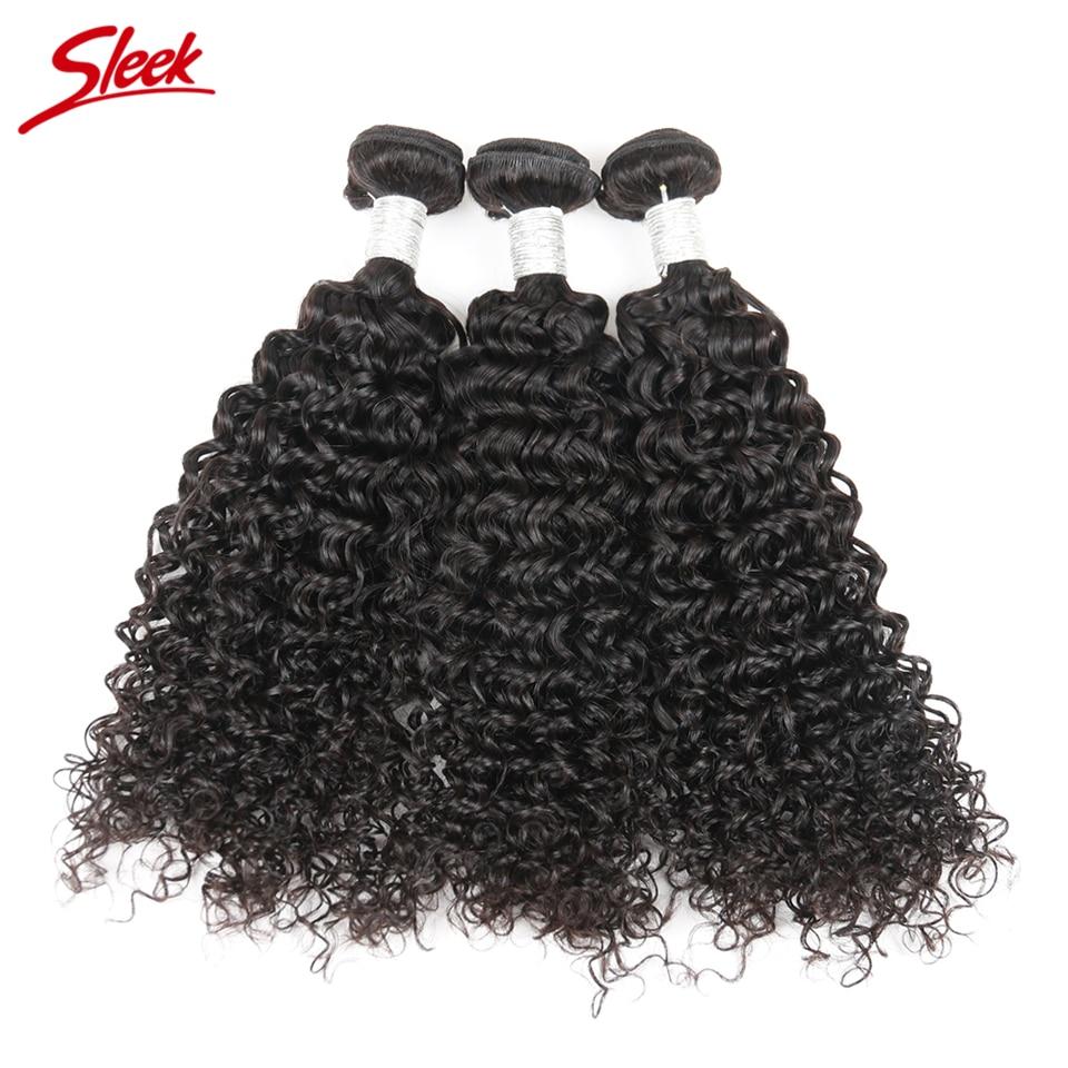 Sleek Hair Natural Color Brazilian Kinky Curly 3 Bundles Deals Free Shipping Human Hair Bundles 10 To 30 Inch Remy Hair Weave