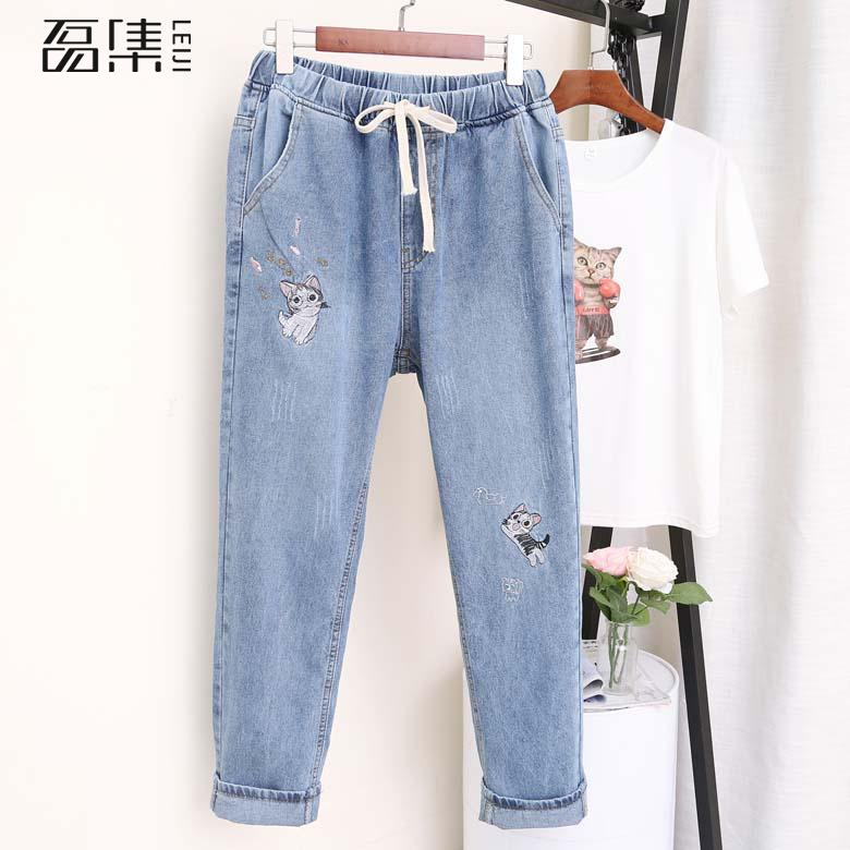 Embroidery  Jeans For Women   High Waisted   Drawstring Plus Size Jeans  Loose  2019 Autumn    Denim  Harem Pants