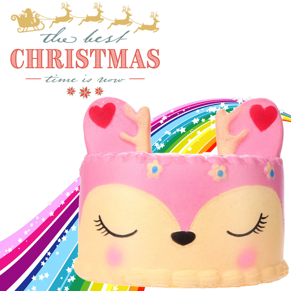 Adorable Kneaded Pink Deer Cake Slow Rising Fruit Scented Stress Relief Toys F5