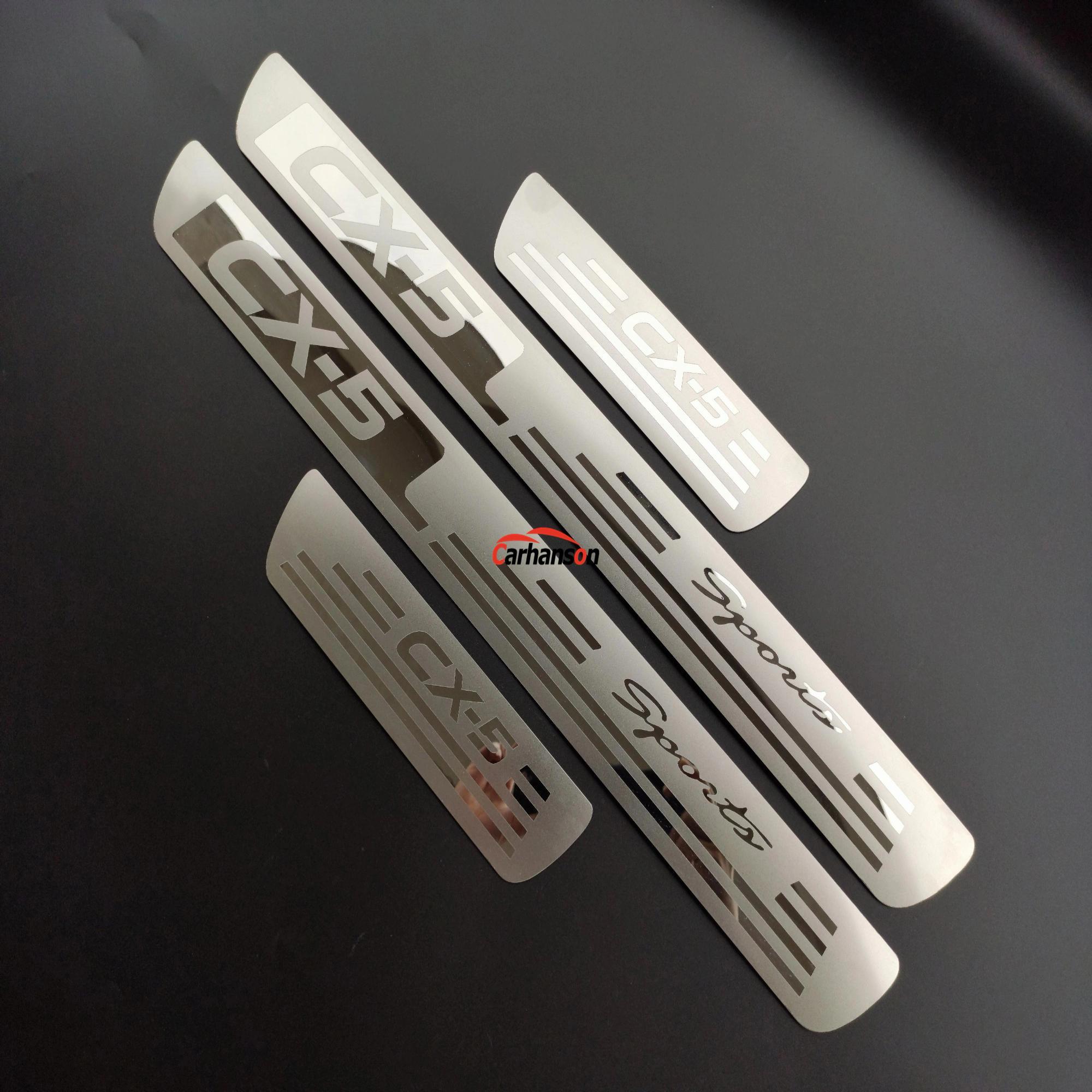 Auto Styling Accessories For Mazda Cx5 Cx-5 Cx 5  Door Sill Cover Scuff Plate Guard Car Sticker Protector 2013 2015 2016 4pcs