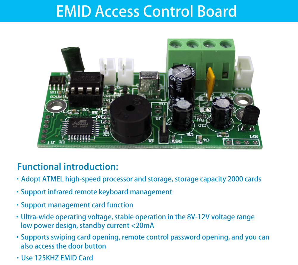 HTB1EQf6XOHrK1Rjy0Flq6AsaFXaM EMID Access Control Board 125KHZ RFID Embedded control board DC12V Normally closed control board