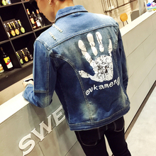 2017 men's casual jacket coat,Fashion big size Hole men's denim jacket,Men's Hand Bone Print Long Sleeve Mens Jacket Jacket 5XL