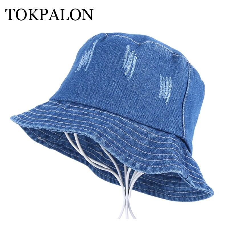 2019 women men casual bucket hat High quality denim cotton vintage style  flat hat women s men s sports hats caps a3f9ad88752