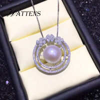 925 sterling silver necklace for women Natural freshwater pearl Flowers necklaces pendants Zircon chain bridal Bohemian jewelry