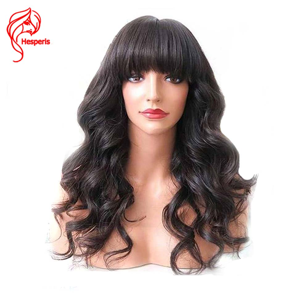 Hesperis Glueless Lace Front Human Hair Wigs With Bangs Natural Wavy Brazilian Remy Lace Front Wigs
