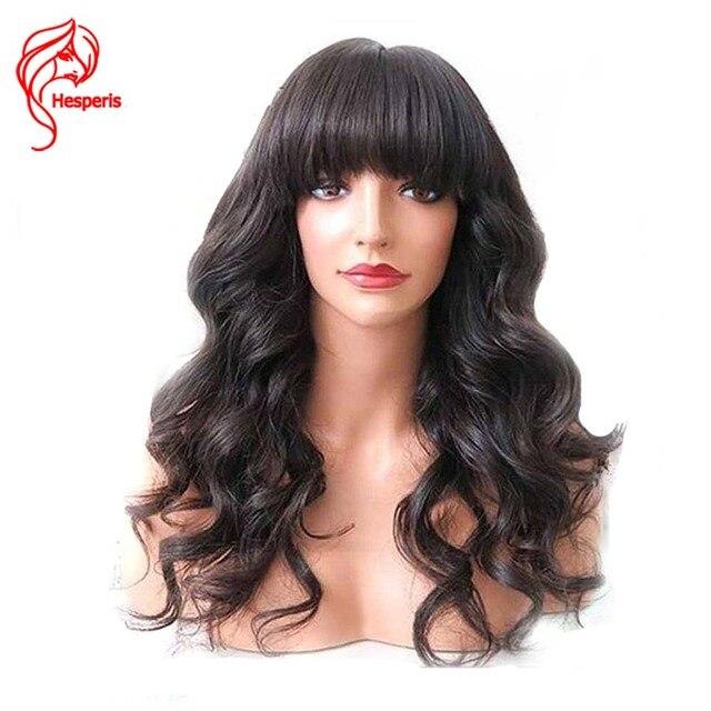 Hesperis бесклеевая кружевная передняя часть человеческих волос парики с челкой натуральные волнистые бразильские волосы Remy кружевные передние парики для женщин предварительно сорванные