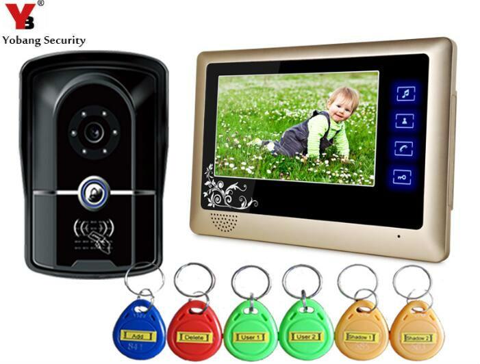 Yobang Security 7Video Intercom System/Kit 700TVL IR Video Doorphone Touch Keypad Door Access Control System With 5RFID Keyfobs