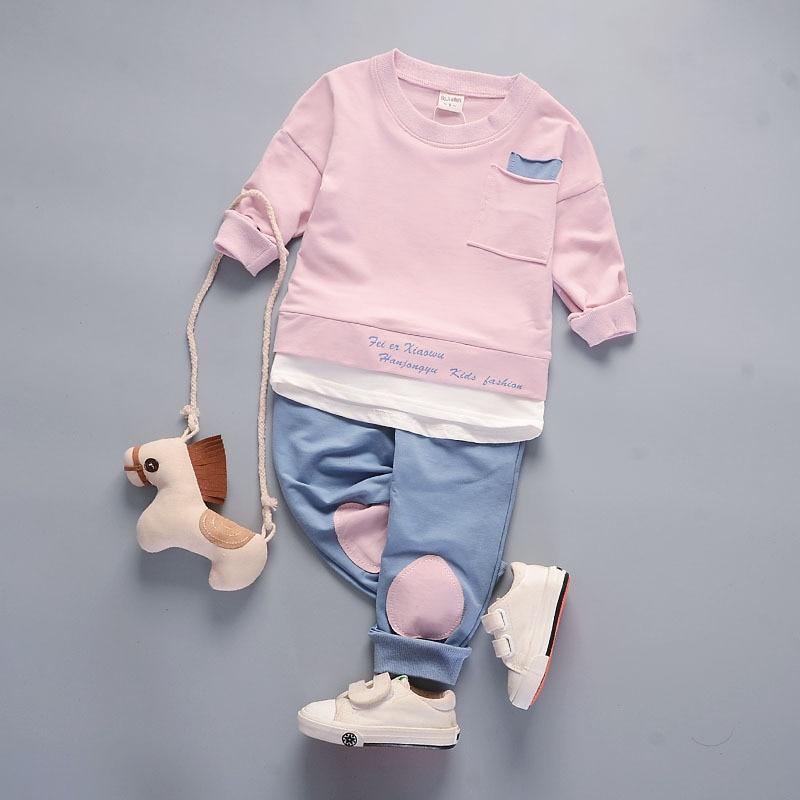 ALVA ZUVA New Spring Children Clothes Korea Comfortable Cotton Kids Clothing Sets For Baby Boy Girl 2 Pcs/Suit Cyf067