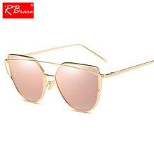 867815d74e RBRARE 2019 ojo de gato Vintage de marca de diseñador de oro rosa espejo  gafas de sol para mujer de Metal reflectante de gafas d.
