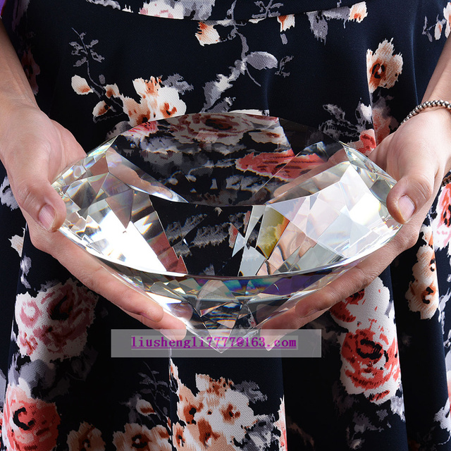 200mm Clear Big Crystal Diamond paperweight Fashion home and office decor Decorative crafts father present 1pcs with gift box