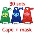 30 sets-Capa y Máscara 70*70 de Doble Cara niños manto Cosplay Superhéroe Capas owlette, catboy, gekko cosplay de Halloween capa capote