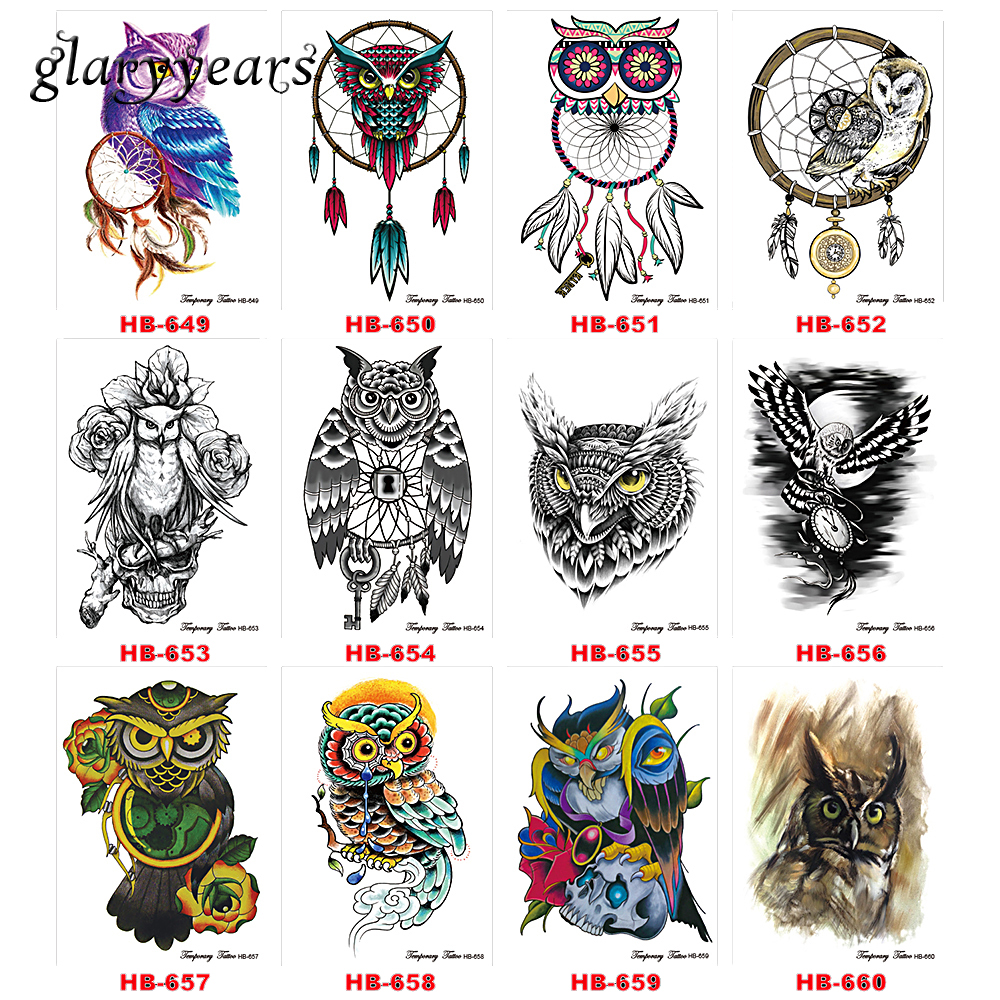 12 Designs 1 Piece Owl Pattern Tattoo Sticker 2018 Top ...