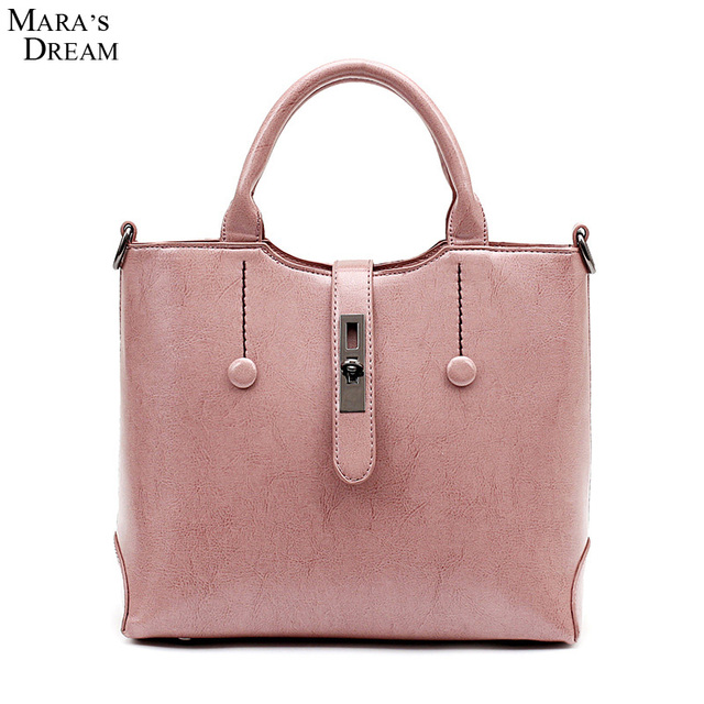 beb7cc56d1 Mara s Dream Ladies Hand Bags Women PU Leather Pink Solid Color Metal Hasp  Big Capacity New