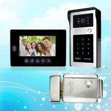 Nueva marca de 7 pulgadas de Color de Vídeo Teléfono de Puerta de Intercomunicación Del Sistema Kit Con Puerta De Acceso RFID Al Aire Libre Monitor de La Cámara 1 + eléctrico de Bloqueo de Control