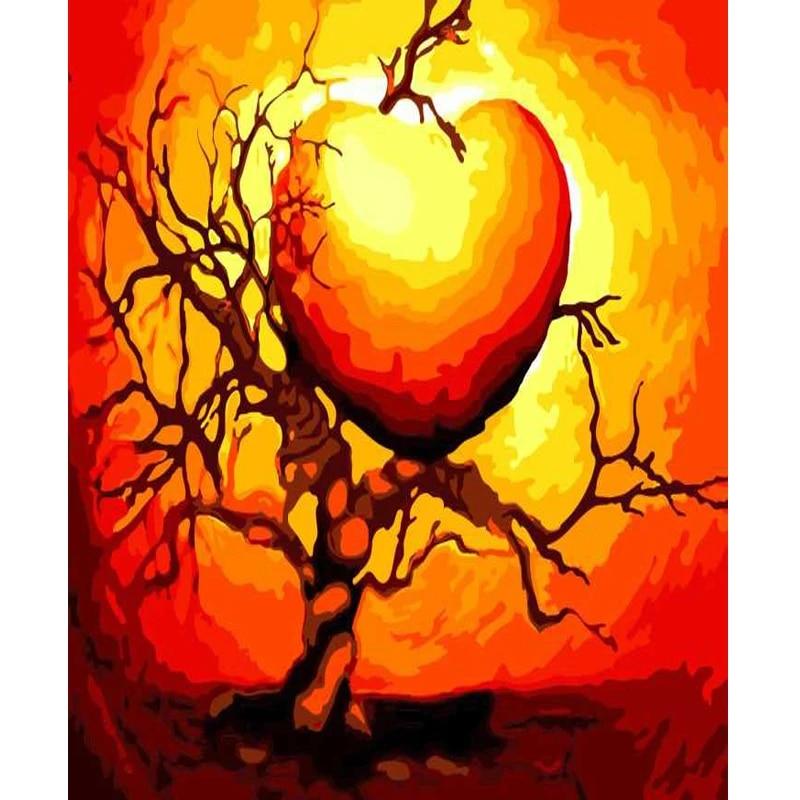 Coeur en forme de BRICOLAGE Peinture Par Numéros Kit Acrylique Peinture  Abstraite Peinture Sur Toile Pour La Maison Décoration | AliExpress