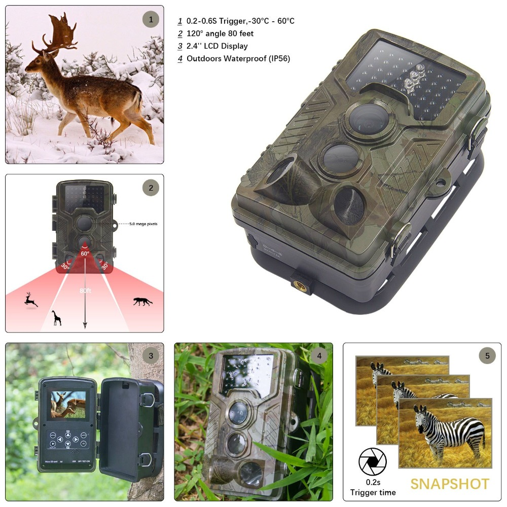 16MP HD Hunting Camera Scouting Infrared Trail Camera Security Camera for Animal Hunting Photo Traps Wild Camera Photo Traps night infrared camera d3 big eye 16mp hd 1080p outdoor scouting hunting trail game video camera wild life animal hunting
