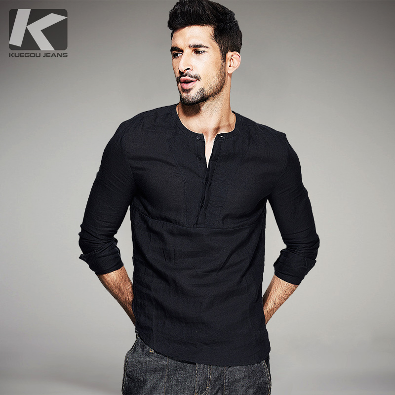 Popular Collarless Shirt Black-Buy Cheap Collarless Shirt Black ...