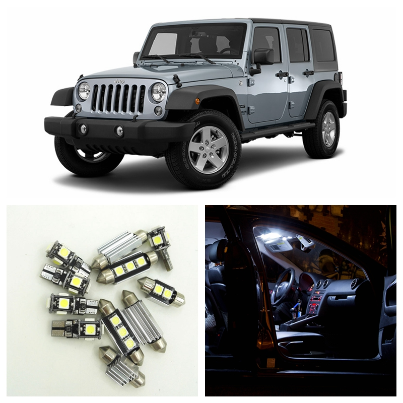 8pcs White Canbus Car LED Light Bulbs Interior Package Kit For 2007-2015 Jeep Wrangler Dome Trunk License Plate Lamp left hand a pillar swith panel pod kit with 4 led switch for jeep wrangler 2007 2015