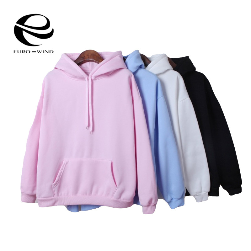2019 Autumn Winter New Hoodies Solid Color Hooded Tops Female Sweatshirt Long Sleeve Velvet Thickening Coat Harajuku For Women