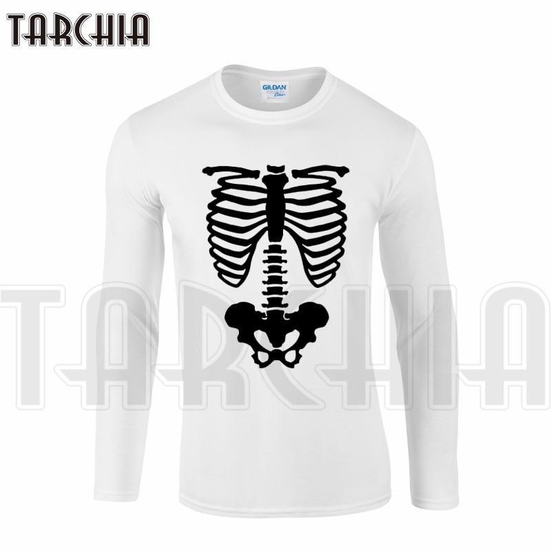 TARCHIA new brand free shipping men's long sleeve homme bone print t-shirt cotton tee big size plus boy cheap wear