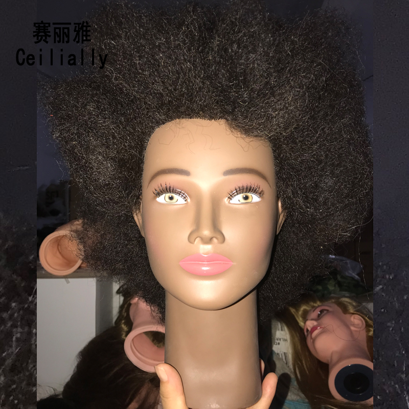 Free Shipping Afro Natural Real Human Hair Mannequin Training Head 10