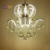 LED European Iron Aluminum Acryl Crystal Golden Chandelier Lighting Lamparas De Techo Suspension Luminaire Lampen For Foyer|Chandeliers|   -
