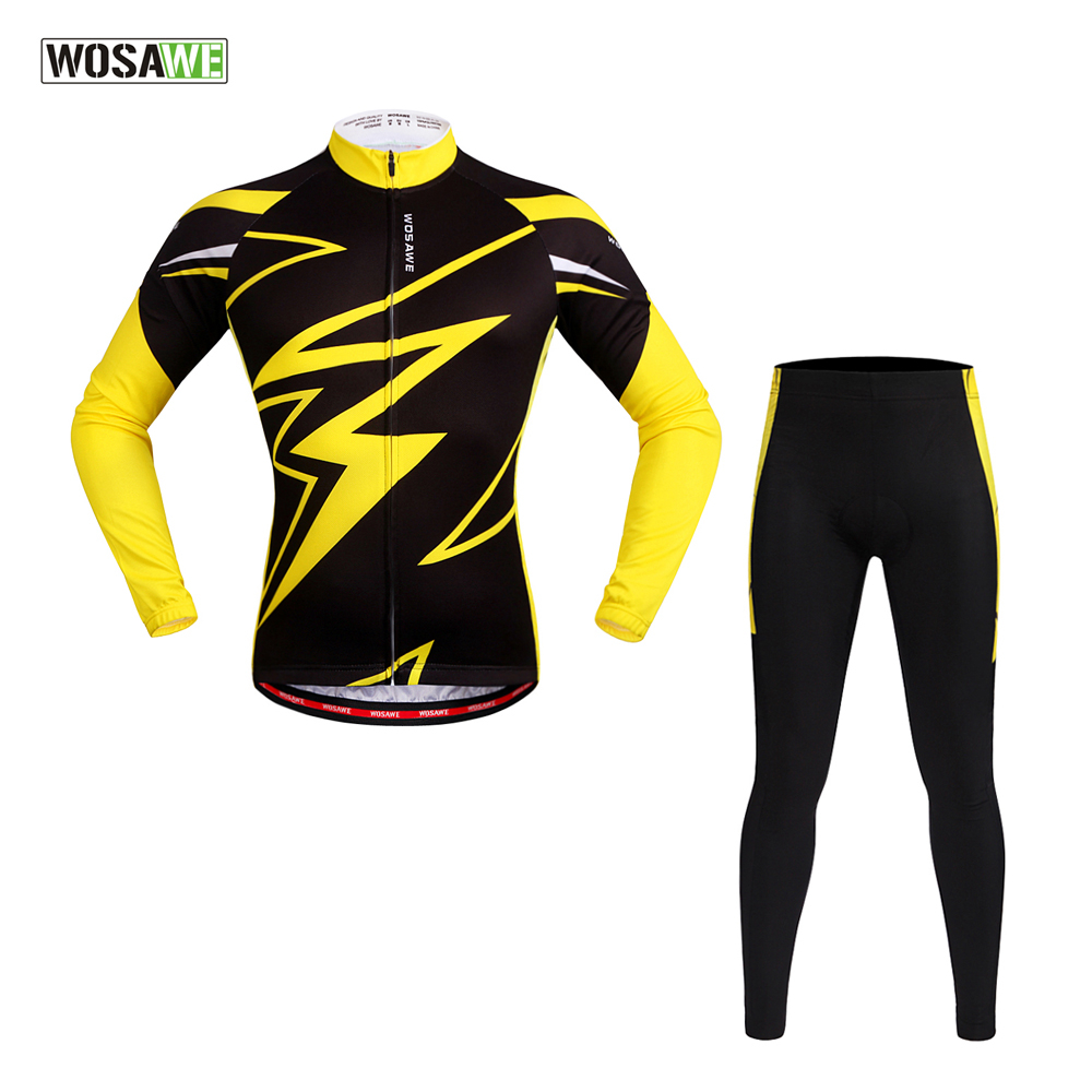 WOSAWE Spring Summer Men's Long Sleeve Cycling Jersey Sets Breathable 4D Padded Bicycle Sportswear Cycling Clothings Yellow wosawe men long sleeve cycling jersey 4d gel padded tights
