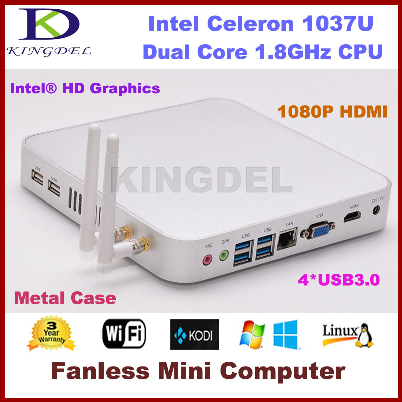 Intel Celeron 1037U Dual Core 1.8Ghz CPU Mini PC Thin Client 2GB RAM 32GB SSD 1080P Video USB 3.0 Port HDMI+VGA Dual Display