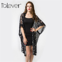 2017 Talever Women Summer Clothing Black Lace Blouse Floral Print Shirt Fashion Perspective Casual Print Floral