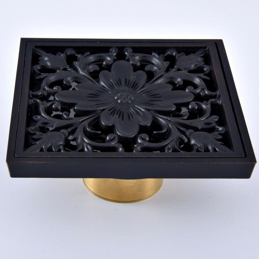 "Black Oil Rubbed Bronze Carved Flower Pattern Bathroom Shower Drain 4"" Square Floor Drain Waste Grates ahr066"