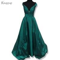 Dài Evening Dress 2017 Elegant V-Cổ Straight Cap Sleeve Pleat Satin Ngọc Lục Bảo Màu Xanh Lá Cây Nữ Gowns Evening Formal