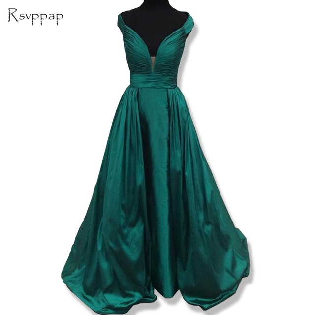 Long Evening Dress 2018 Elegant V-neck Straight Cap Sleeve Pleat Satin  Emerald Green Women Formal Evening Gowns 1bb31b81ca