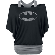 Batman T Shirt Women Black Slim Off Shoulder Casual Loose Shirts Women's Two Piece Print Bat Sleeve T-Shirt
