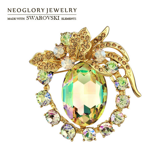 Neoglory Jewelry MADE WITH SWAROVSKI ELEMENTS Crystal Alloy 14k Gold Plated Wedding Brooches For Female Wholesale Gift