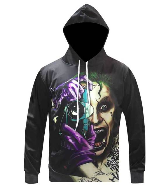 Autumn Winter Fashion 3d Print Hoodies Men Suicide Squad Personalized Hooded Sweatshirts Men/women Long Sleeve Pullover Hoodies