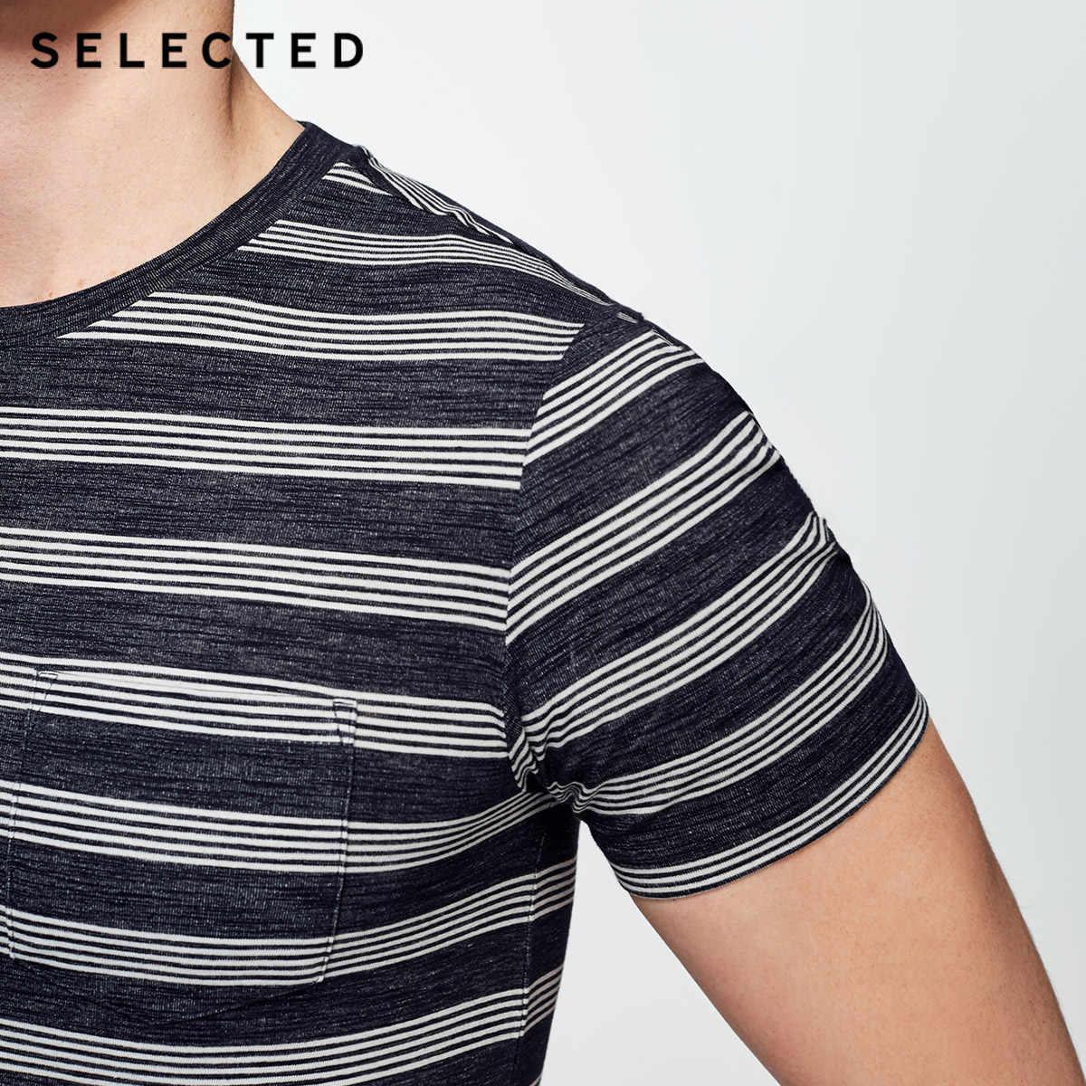 選択綿混紡ラウンド襟スリムストライプレジャー半袖 Tシャツ S | 4182T4543