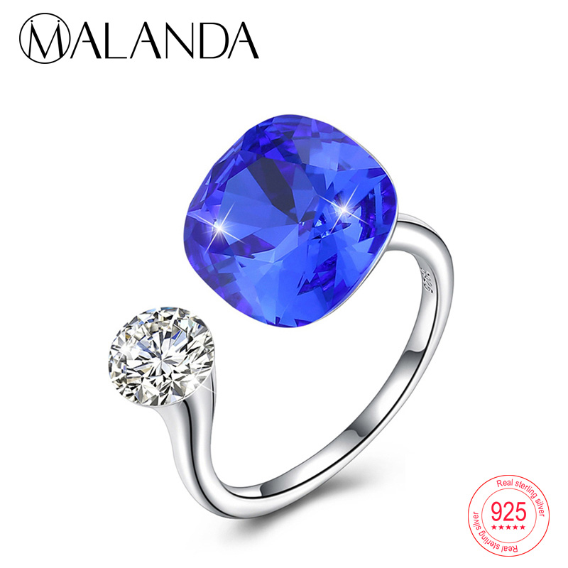 MALANDA Round Crystals From Swarovski Rings For Women Fashion 925 sterling silver Luxury Resizable Rings Romantic Jewelry Gift все цены