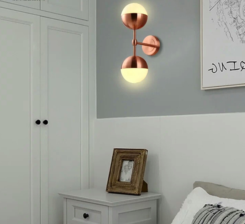 Free shipping rose gold/copper finished metal glass shade 150mm wall lamp fixture room shop bedroom beside light home decoration free shipping brass finished e27 industrial edison wall lamp antique copper vintage beside lighting ac90 250v for bedroom