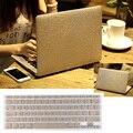 Hard Case De Couro de luxo Ouro Seda + Tampa Do Teclado Para Macbook ar Pro 11 13/Pro Retina 13 Frete Grátis Bolsa de Computador Portátil