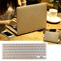 Luxury Gold Silk Leather Hard Case Cover + Keyboard Cover For Macbook Air Pro 11 13 / Retina Pro 13 Free Shipping Lapop Bag