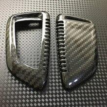 Genuino 100% Carbon Fiber Car Auto Titular de Piel Cubierta de la Caja Dominante Alejada Fob Shell Para BMW X5 X6 F15 F16