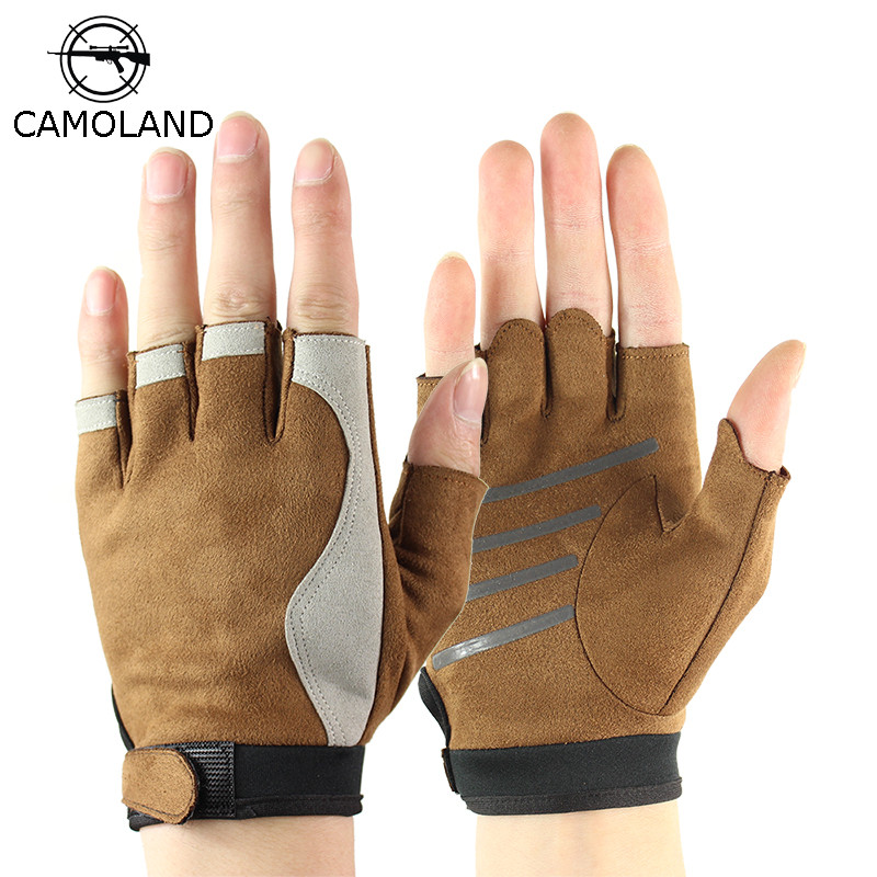 Sports Half Finger Gloves Men Leather Gym Weight Lifting Mittens Tactical Gloves