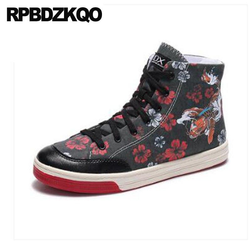 dc5a26d6536fb Flor zapatillas negro impreso entrenadores Skate pintura Hip Hop tamaño  grande High Top Floral hombres zapatos de lujo marca lona pista en Calzado  casual de ...