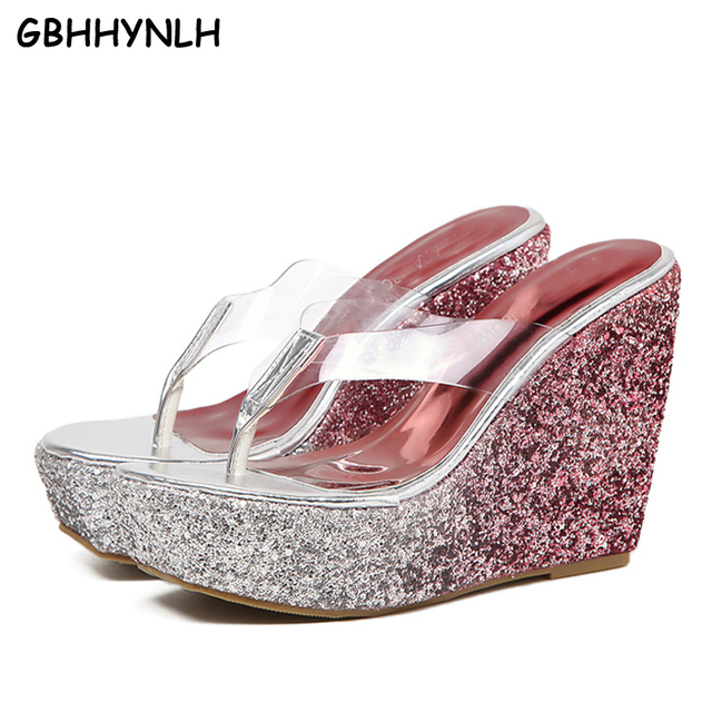 017848fe0 beach slippers women flip flops Wedge Slippers PVC Clear Transparent Shoes  Woman Platform heels Wedges Crystal Sandals LJB21
