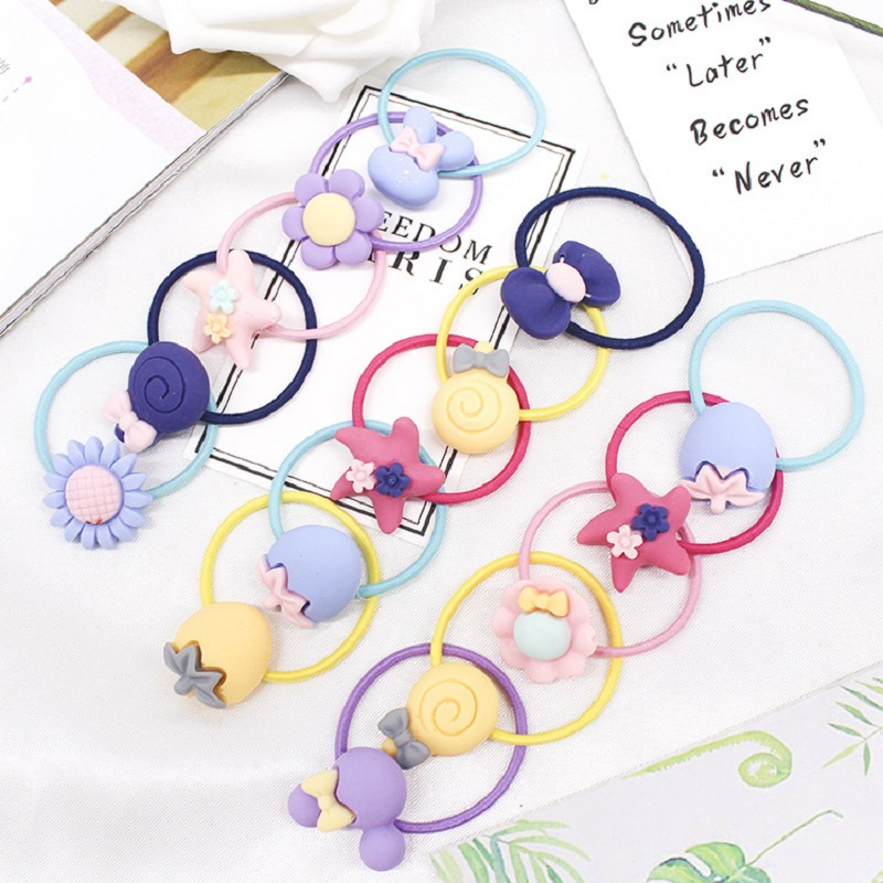 20pcs/lot High Quality Hairwear Cartoon Baby Girl Elastic Hair Band Hair Rope Kids Rubber Hair Bands Accessories Ponytail Holder