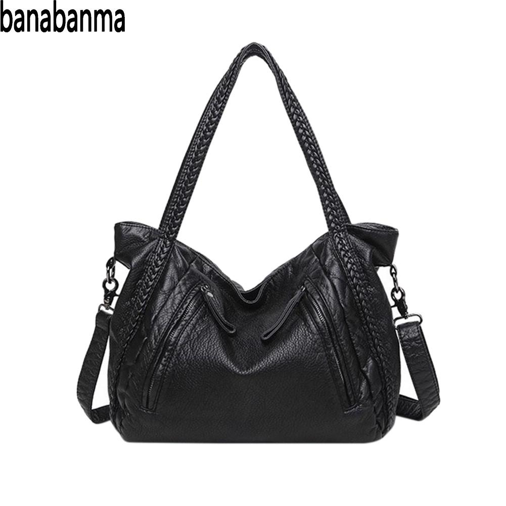 PinShang Large Handbag Soft Leather <font><b>Bag</b></font> <font><b>Women</b></font> Handbags Ladies Crossbody <font><b>Bags</b></font> Female <font><b>Big</b></font> Tote <font><b>Shoulder</b></font> <font><b>Bags</b></font> <font><b>for</b></font> <font><b>Women</b></font> <font><b>2018</b></font> ZK40 image