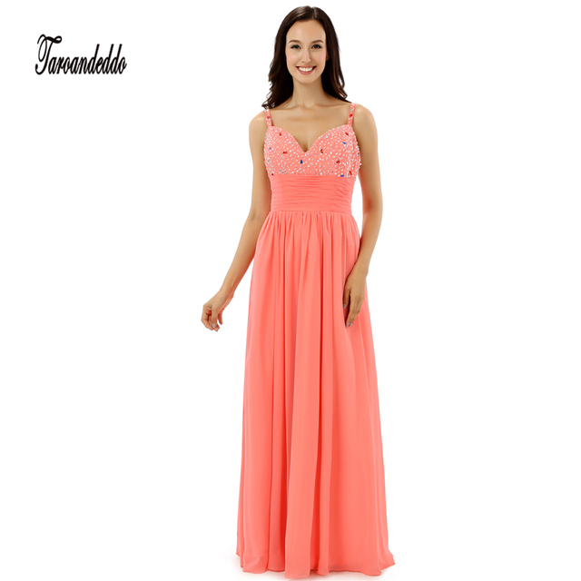 Shiny Perlen Pailletten Lang Coral Chiffon Brautjungfer Kleid ...
