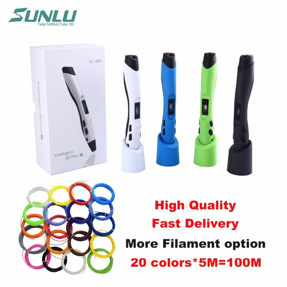 SUNLU sl-300 Детские Doodle игрушка 3D ручки Дополнительно с 22 пакета(ов) 5 м PLA нити и ЖК-дисплей управления temp. Безопасны для использования детьми